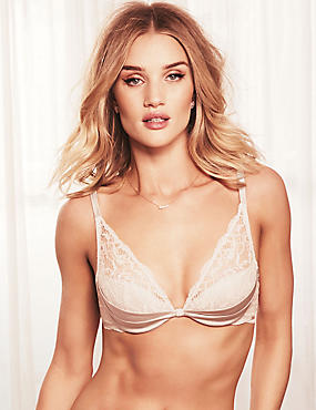 Silk & Lace Padded Beau Plunge Bra A-E, ALABASTER, catlanding