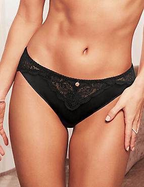 Silk & Lace High Leg Knickers, BLACK, catlanding