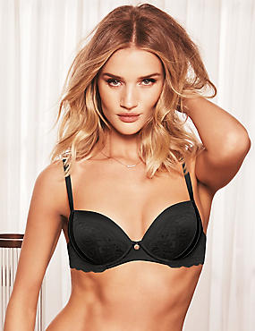 Silk Blend Lace Padded Balcony Bra A-E, BLACK, catlanding