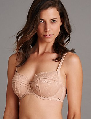 Dentelle Lace Non-Padded Balcony Bra DD-G, POWDER, catlanding