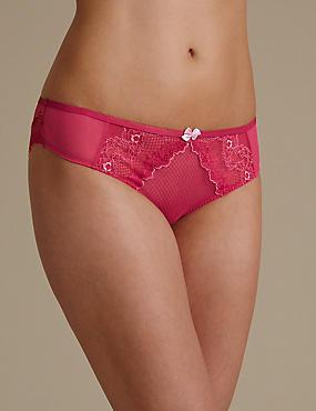 Penelope Lace Brazilian Knickers , BRIGHT PINK, catlanding