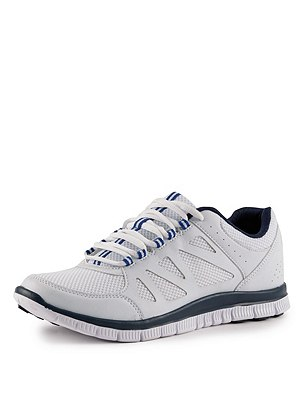 Lace Up Trainers, WHITE, catlanding