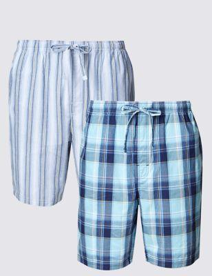 Пижамные шорты из чистого хлопка в полоску и клетку (2 пары) M&S Collection T072051
