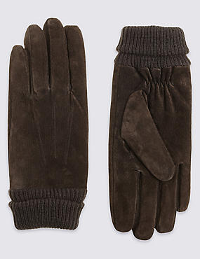 Suede Cuff Gloves with Thinsulate™, BROWN, catlanding