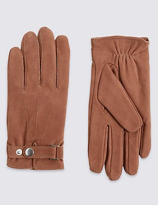 Leather Thinsulate™ Gloves with Adjustable Cuffs, TAN, catlanding