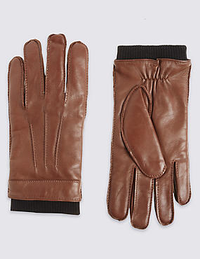 Leather Thinsulate™ Gloves with Knitted Cuff, TAN, catlanding