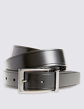 Coated Leather Score Edge Reversible Belt, BLACK/BROWN, catlanding