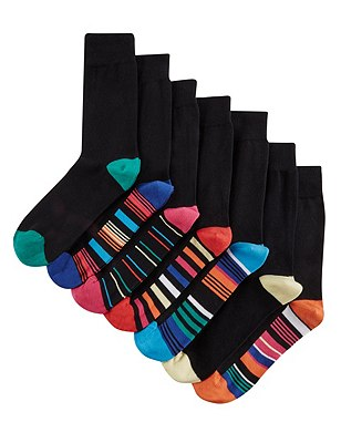 7 Pairs of Freshfeet™ Stay Soft Cotton Rich Assorted Socks with Silver Technology, BLACK MIX, catlanding