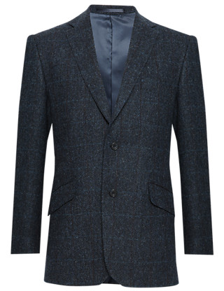 Tailored Fit Pure New Wool 2 Button Herringbone Checked Jacket Clothing