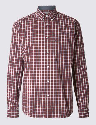 Рубашка из чистого хлопка в контрастную оконную клетку M&S Collection T252795M