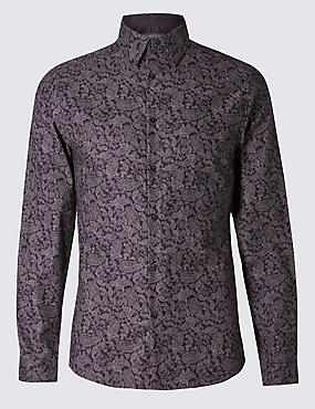 Pure Cotton Tailored Fit Long Sleeve Shirt, DAMSON, catlanding