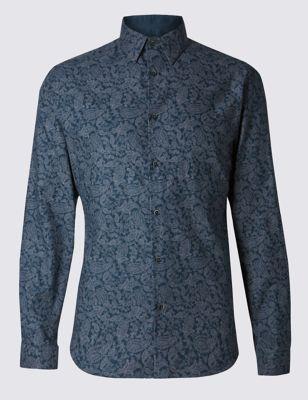 Слегка приталенная рубашка из чистого хлопка с пейсли-принтом