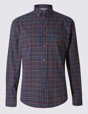 Слегка приталенная рубашка в тонкую цветную клетку M&S Collection T253111M