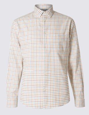 Слегка приталенная рубашка в тонкую цветную клетку
