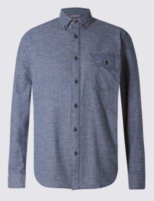 Рубашка из чистого хлопка в мелкую клетку с карманом на пуговице