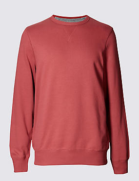 Crew Neck Sweatshirt, RED, catlanding