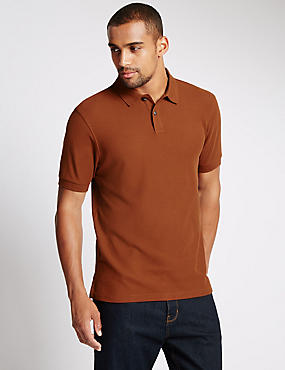 Slim Fit Polo Pure Cotton Shirt with StayNEW™, RUST, catlanding