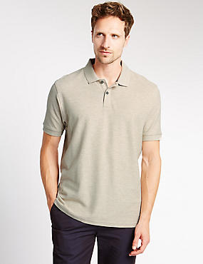 Pure Cotton Polo Shirt with StayNEW™, STONE MIX, catlanding