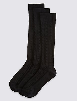 3 Pairs of Freshfeet™ Socks (3-11 Years), BLACK, catlanding