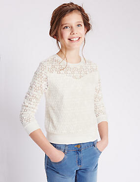 Daisy Lace Sweat Top (5-14 Years)