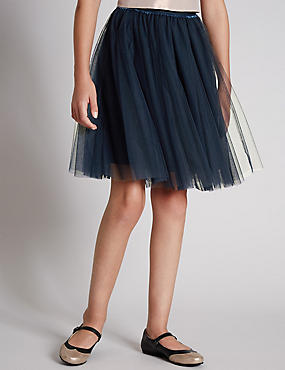 Tutu A-Line Skirt (5-14 Years), NAVY, catlanding
