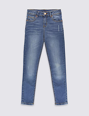Cotton Rich with Stretch Distressed Skinny Jean (3-14 Years), DENIM, catlanding