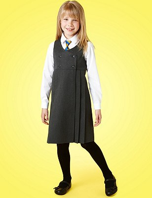 Girls' Double Breasted Pinafore with Triple Action Stormwear™, GREY, catlanding