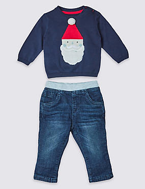 2 Piece Knitted Christmas Santa Outfit, NAVY MIX, catlanding