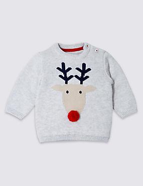 Pure Cotton Christmas Reindeer Jumper, GREY MARL, catlanding