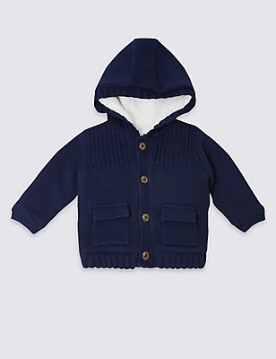 Pure Cotton Hooded Cardigan, NAVY, catlanding