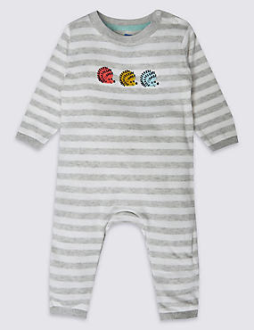 Pure Cotton Hedgehog Stripe Knit All in One, GREY MIX, catlanding