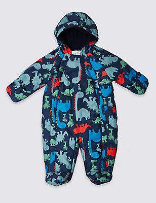 Long Sleeve Animal Print Snowsuit, NAVY, catlanding