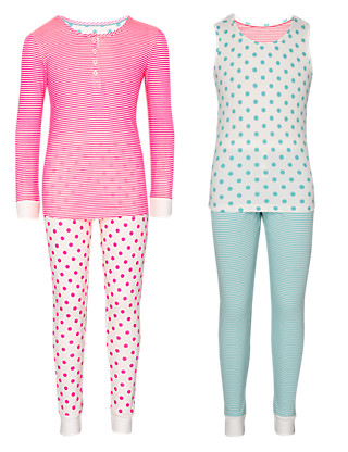 2 Pack Cotton Rich Spotted & Striped Pyjamas (5-14 Years) Clothing