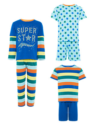 3 Pack Pure Cotton Assorted Pyjamas (1-7 Years) Clothing