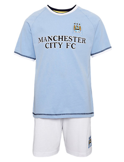 Pure Cotton Manchester City Football Club Pyjama Shorts Set Clothing