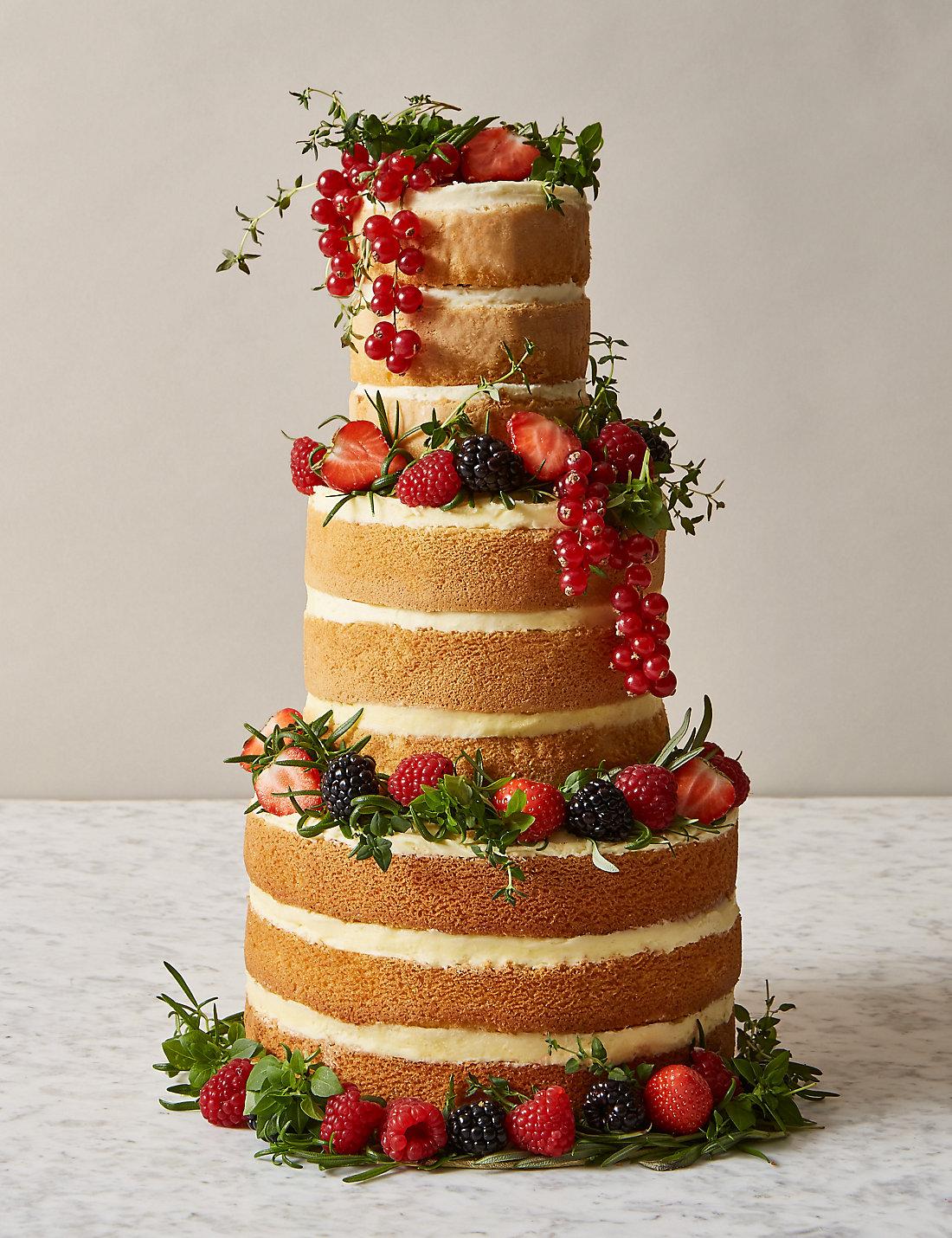 Naked Vanilla Wedding Cake 3 Tiers