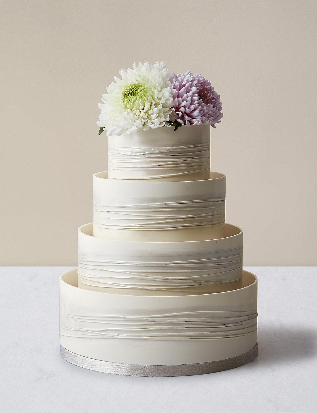 Shimmering Hoop Chocolate Wedding Cake (White & Silver) | M&S