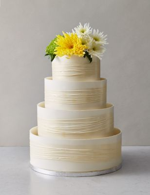 Shimmering Hoop Chocolate Wedding Cake White Gold MS