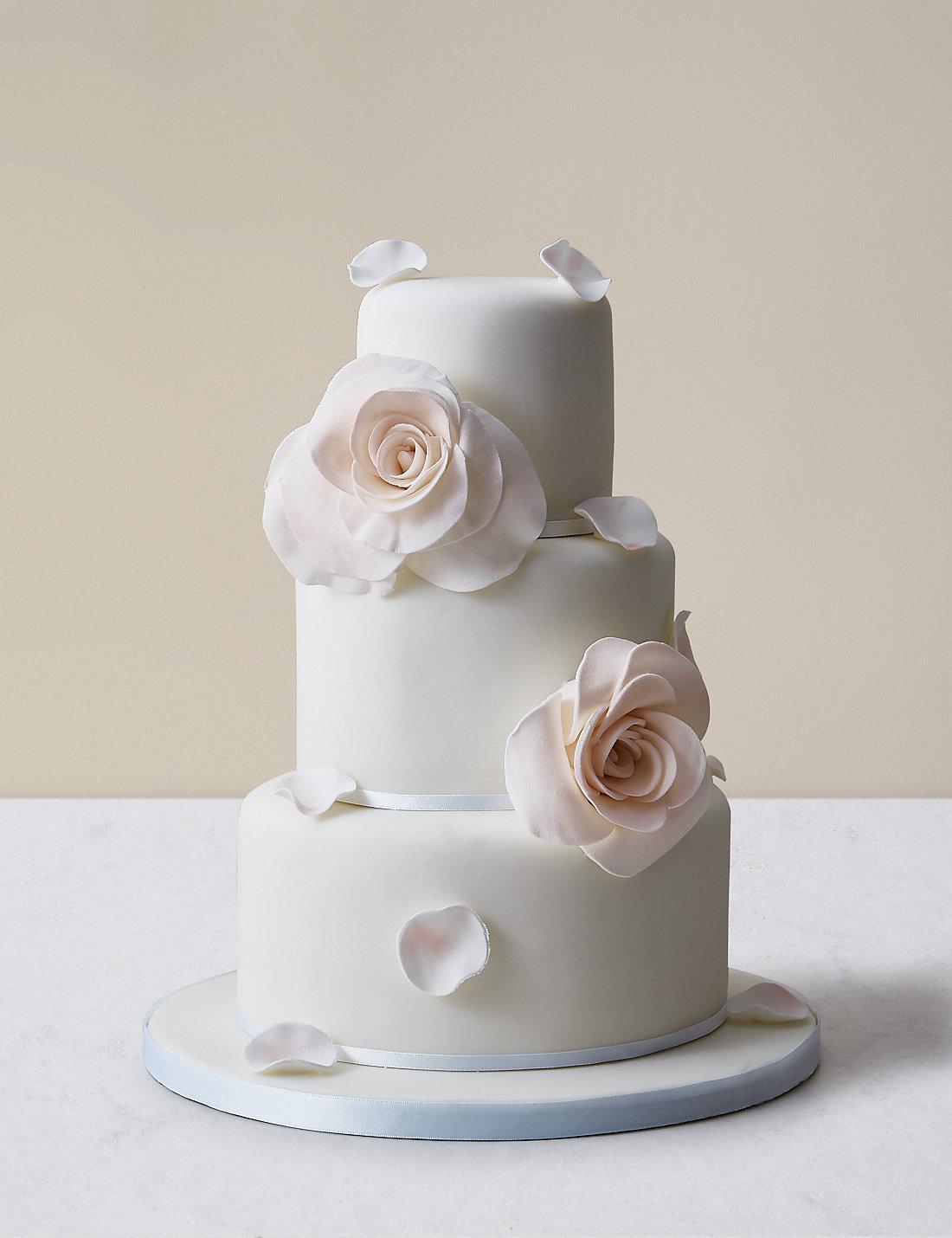 Blushing Rose Petal Wedding Cake