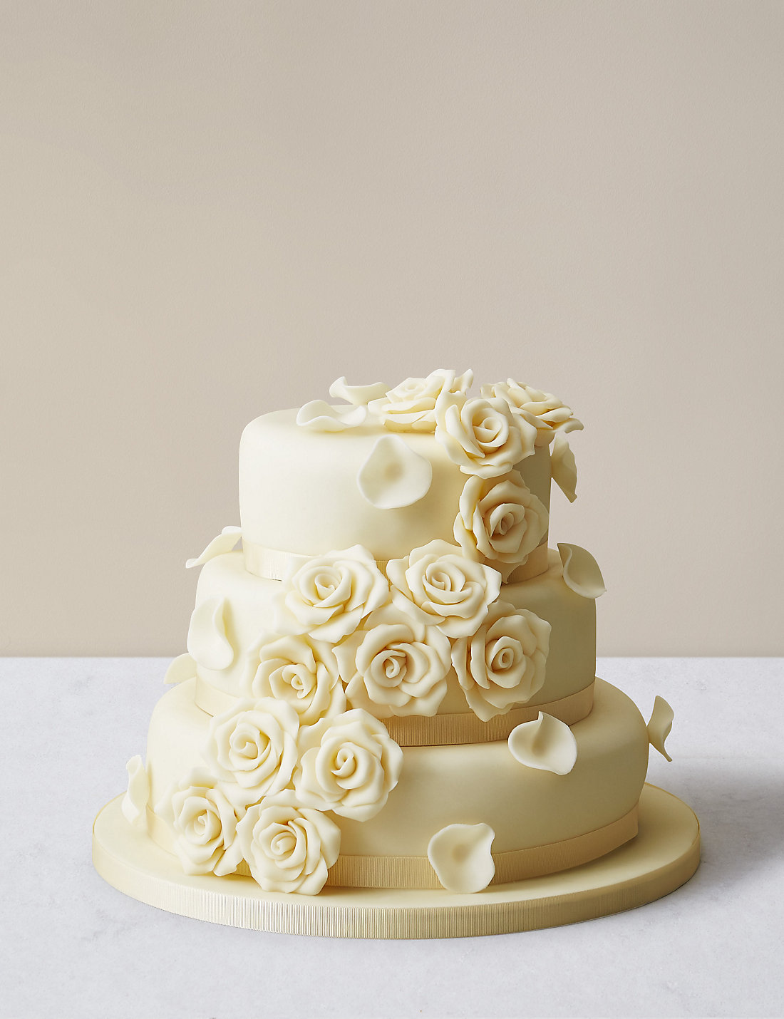 Chocolate Rose Wedding Cake 3 Tier Sponge White Icing