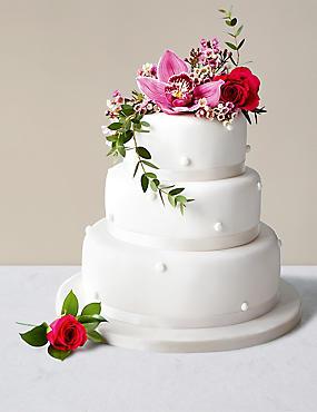 Pearl Fruit Wedding Cake White Icing