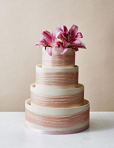 Shimmering Hoop Chocolate Wedding Cake White Pink