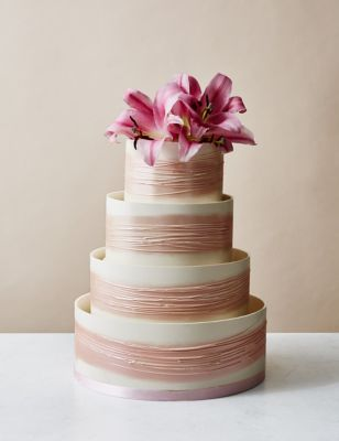 Shimmering Hoop Chocolate Wedding Cake White Pink MS