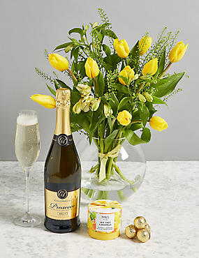 Food wine chocolate alcohol gifts ms the bucklebury celebration gift with flowers and prosecco negle Gallery
