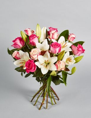 Roses red pink white rose flowers bouquets m s for Big bouquets of flowers