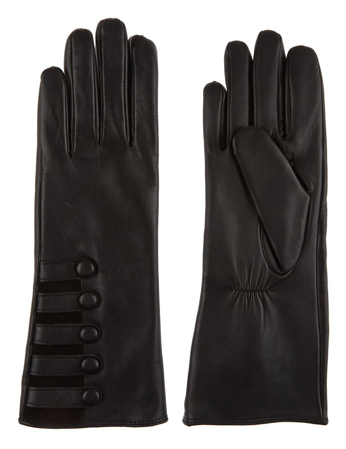 M  S Collection Leather Military Button Gloves $39.50 AT vintagedancer.com