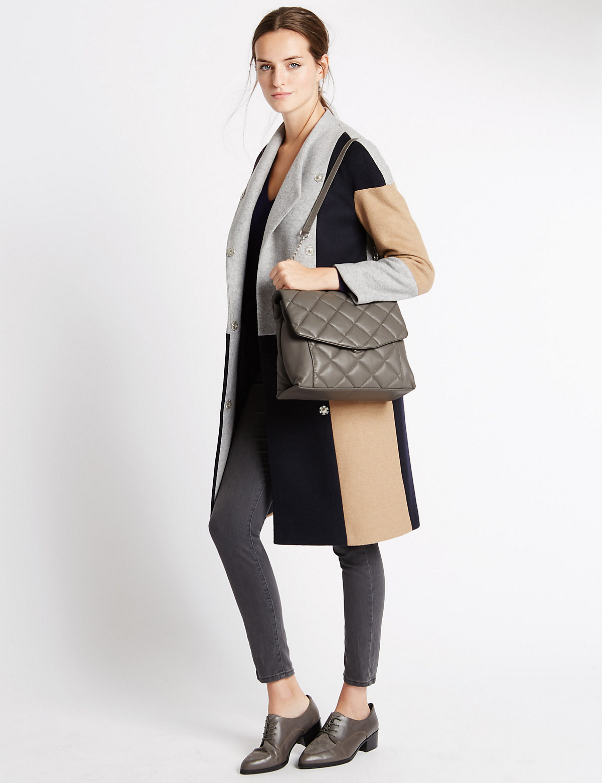 M&S Collection Leather Quilt Shoulder Tote Bag