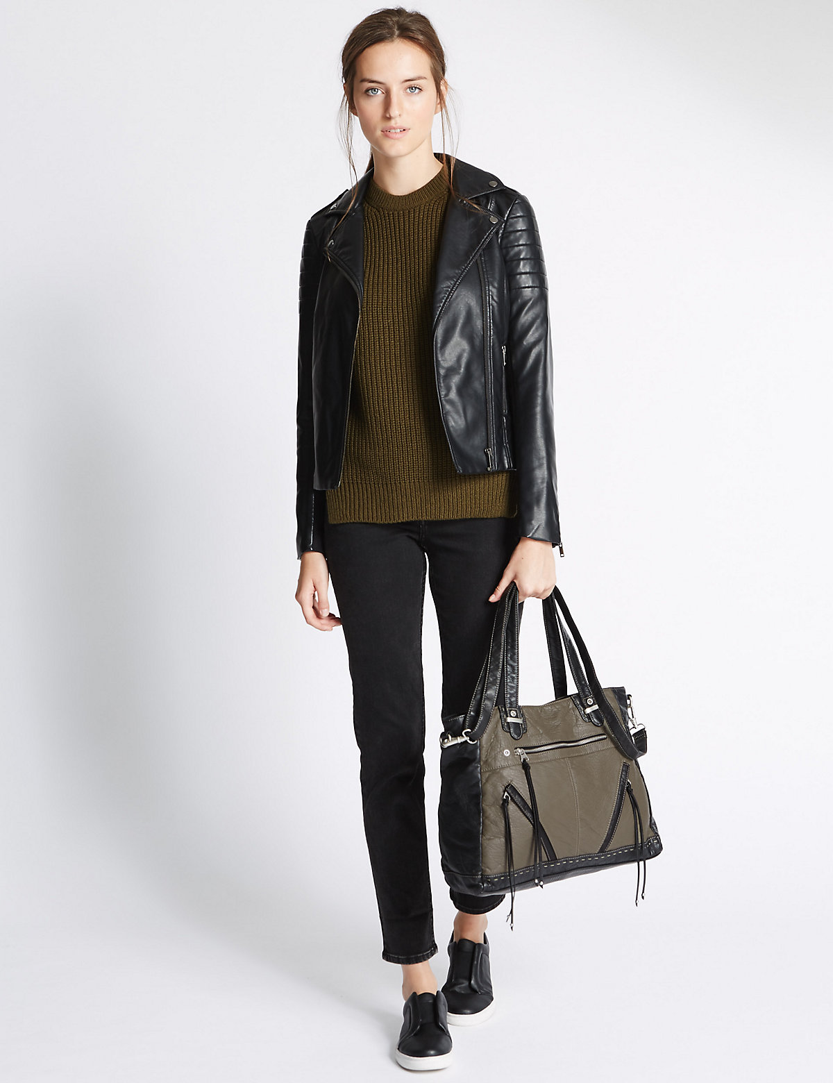 M&S Collection Faux Leather Slouch Tote Bag