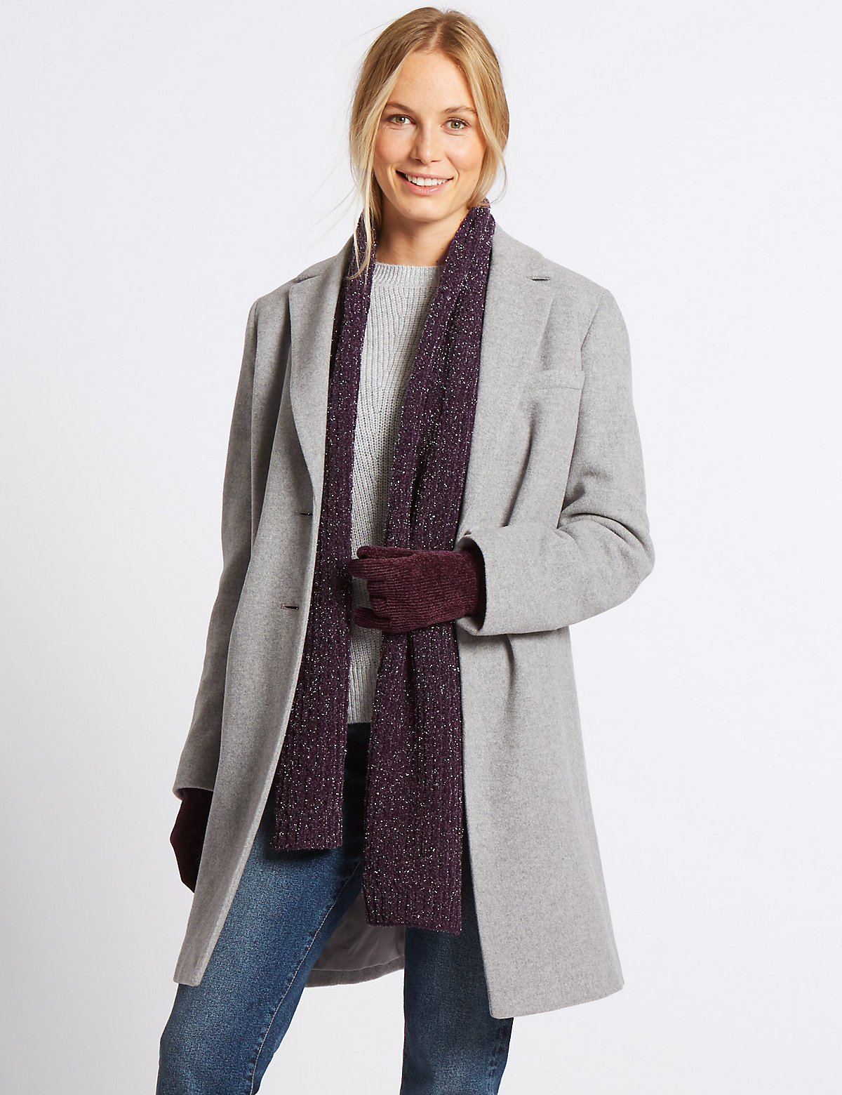 M&S Collection Sparkle Scarf & Gloves Set