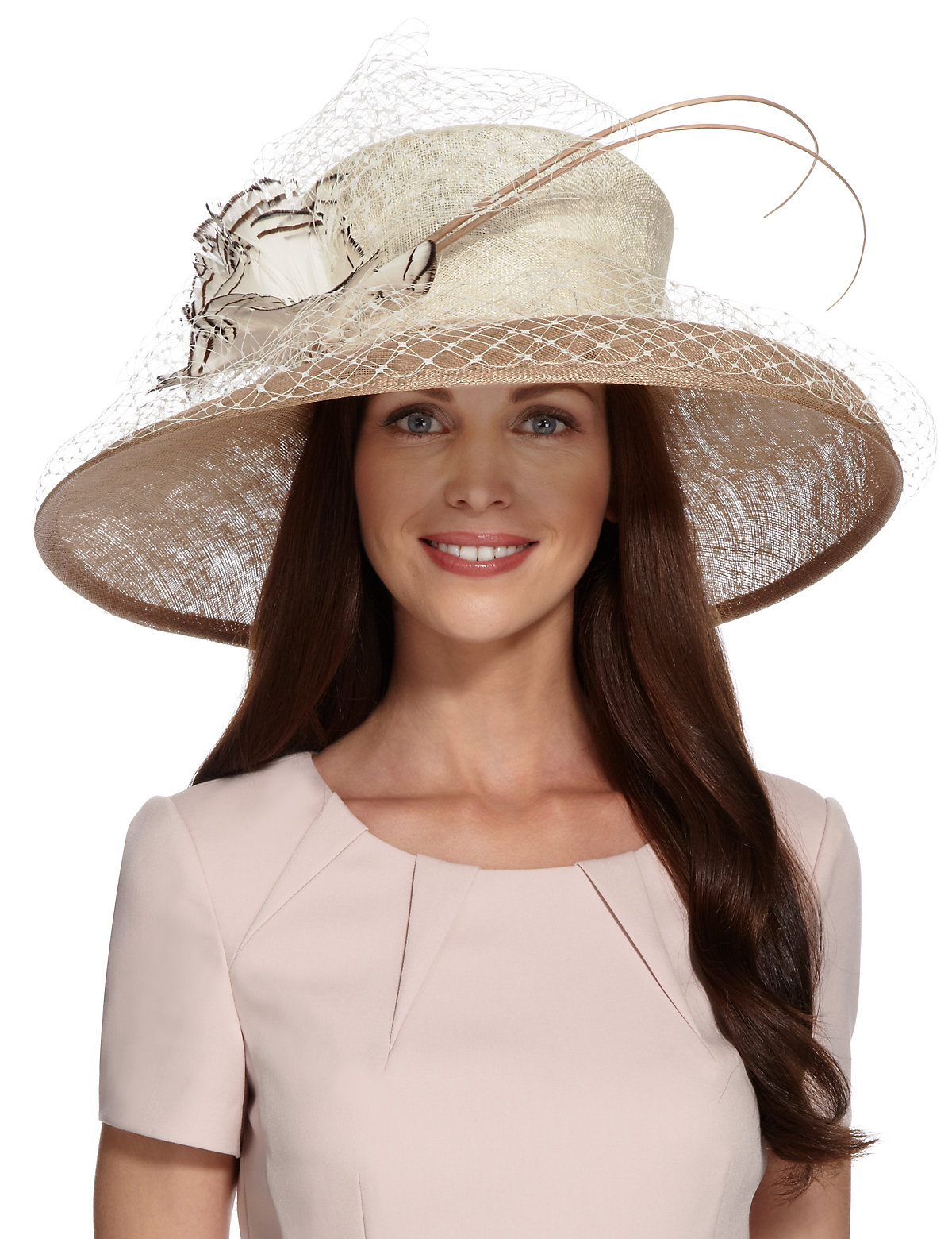 MS Collection Floral Corsage Feather  Net Trilby Hat £99.00 AT vintagedancer.com